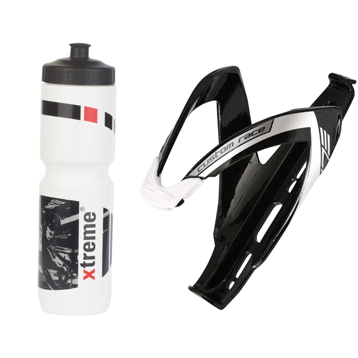 Hobby 1 l drinks bottle + Elite Custom Race bottle cage set